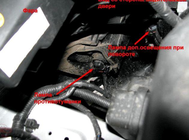 Как поменять лампочку на противотуманки киа рио лампой из корпуса блок-фары